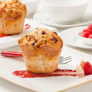 Raspberry White Choc Muffin